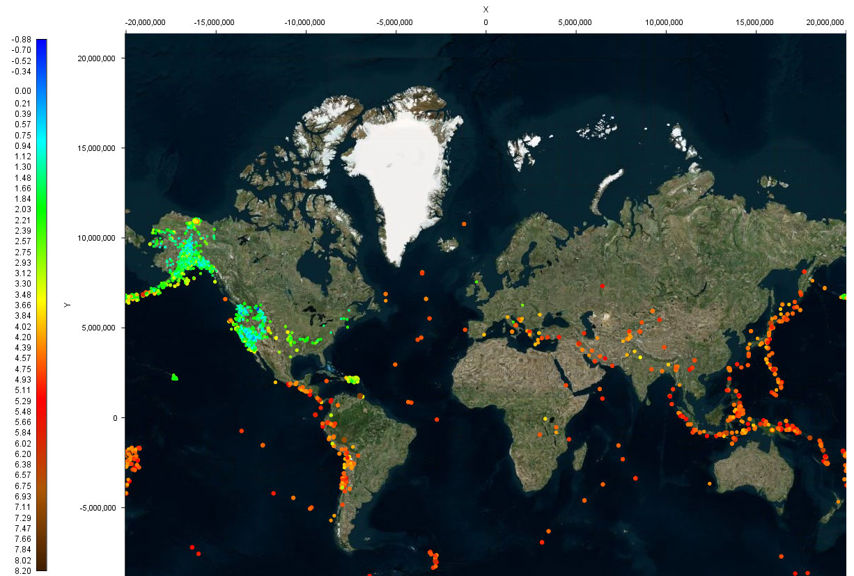 World earthquake data last 30 days