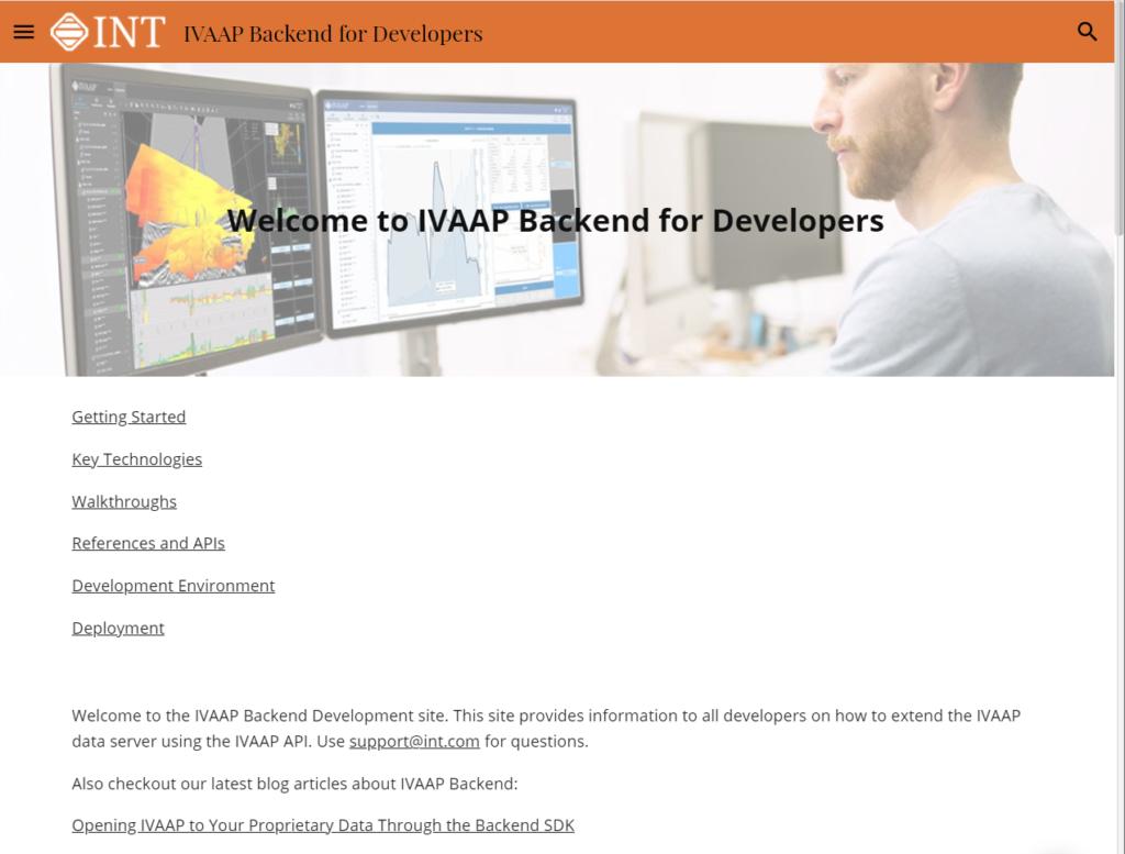 IVAAP Data Backend SDK Homepage
